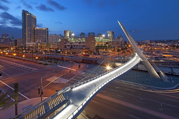 Harbor Drive Pedestrian Bridge in downtown San Diego by Safdie Rabines Architects