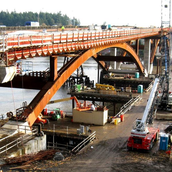 View of new Sellwood Bridge by Safdie Rabines Architects