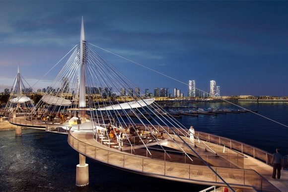 Lusail Pedestrian Bridges by Safdie Rabines Architects